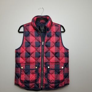 Buffalo Plaid J Crew quilted vest size M